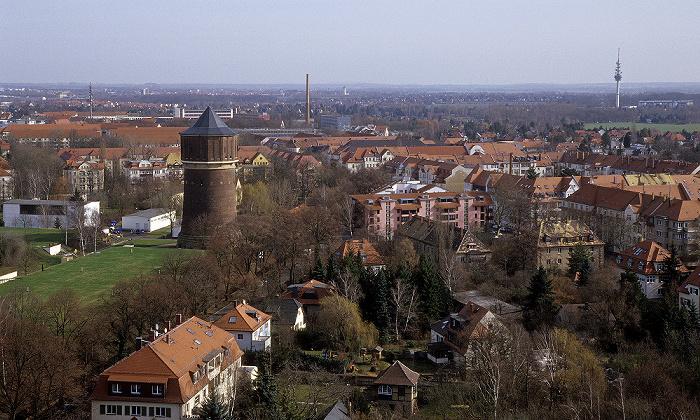 Leipzig Völkerschlachtdenkmal: Blick von der Denkmalskrone Fernmeldeturm Wasserturm Probstheida