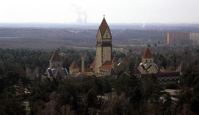 Leipzig Völkerschlachtdenkmal: Blick von der Denkmalskrone Südfriedhof