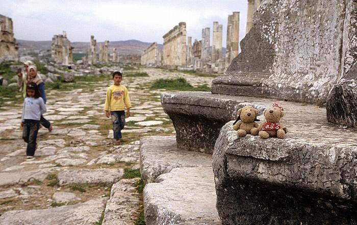 Apameia am Orontes Ruinengelände: Säulenstraße, Monumentalsäule mit Teddy und Teddine