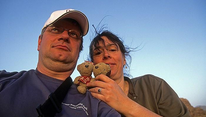 Wadi Rum Ar Rak'a: Jürgen und Cordula mit Teddy und Teddine