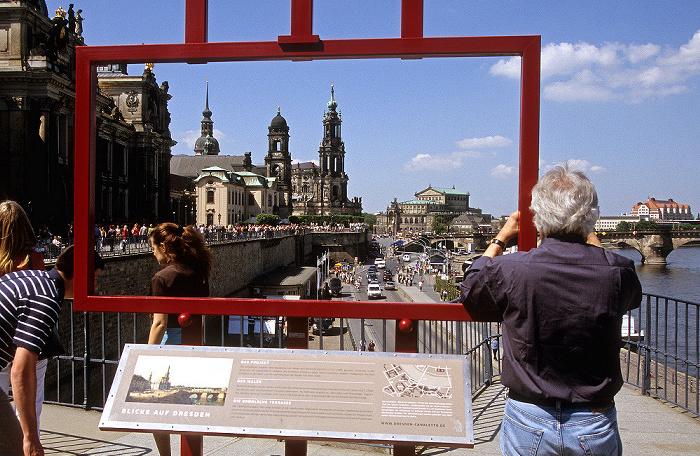Innere Altstadt (Brühlsche Terrasse): Installation Blicke auf Dresden Augustusbrücke Erlweinspeicher Hausmannsturm Katholische Hofkirche Kunstakademie Sächsisches Ständehaus Sekundogenitur Semperoper