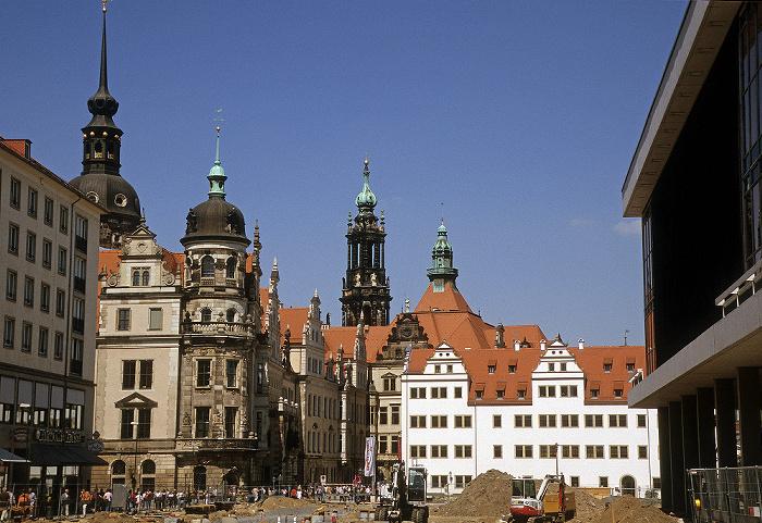Dresden Innere Altstadt: Residenzschloss Hausmannsturm Katholische Hofkirche Kulturpalast