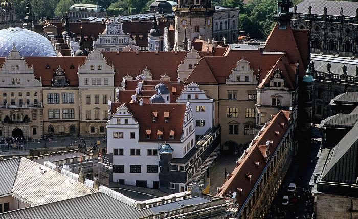 Dresden Bick von der Kuppel der Frauenkirche: Innere Altstadt mit Residenzschloss