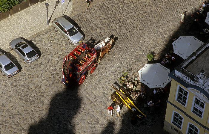 Dresden Bick von der Kuppel der Frauenkirche: Innere Altstadt mit Kutsche