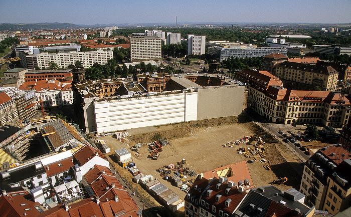 Dresden Bick von der Kuppel der Frauenkirche: Innere Altstadt, Pirnaische Vorstadt Polizeidirektion Dresden Rudolf-Harbig-Stadion