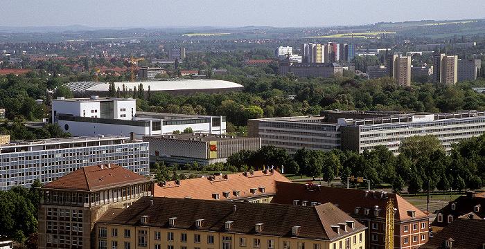 Dresden Bick von der Kuppel der Frauenkirche: Pirnaische Vorstadt mit Rudolf-Harbig-Stadion