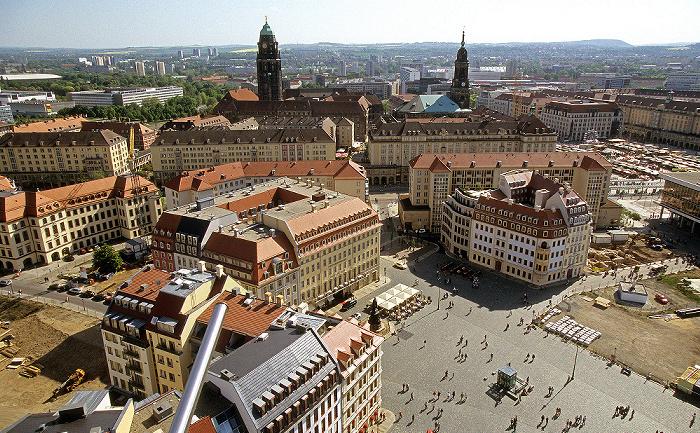 Dresden Bick von der Kuppel der Frauenkirche: Innere Altstadt mit Neumarkt Altmarkt Kreuzkirche Rathaus