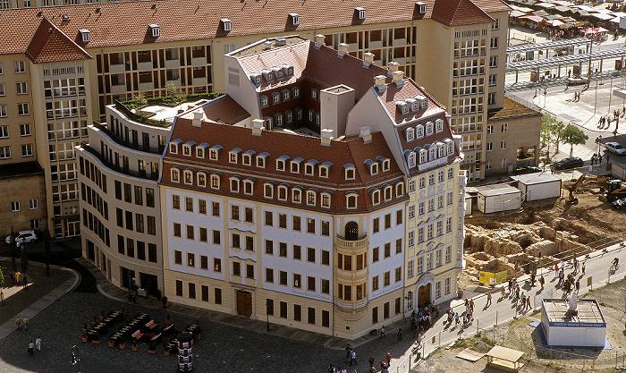 Dresden Bick von der Kuppel der Frauenkirche: Innere Altstadt am Neumarkt