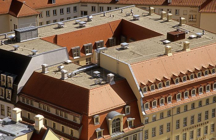 Dresden Bick von der Kuppel der Frauenkirche: Innere Altstadt mit dem Steigenberger Hotel de Saxe