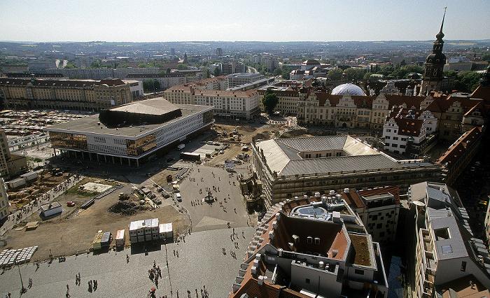 Dresden Bick von der Kuppel der Frauenkirche: Innere Altstadt Altmarkt Hausmannsturm Kulturpalast Neumarkt Residenzschloss Verkehrsmuseum