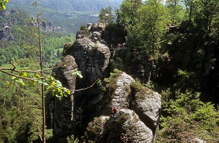 Sächsische Schweiz Blick von der Bastei: Elbsandsteingebirge, Amselgrund