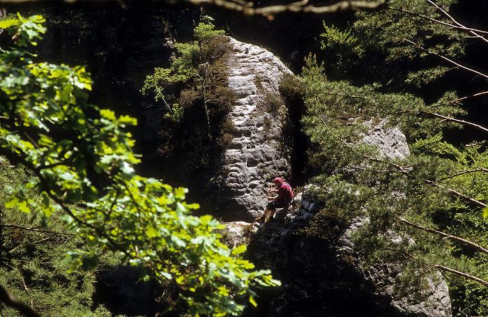 Sächsische Schweiz Blick von der Bastei: Kletterer