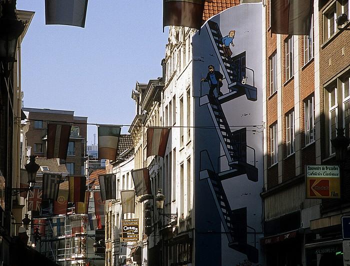 Brüssel Rue de l'Étuve: Comic-Wandgemälde Tim, Struppi und Kapitän Haddock Rue de l'Etuve
