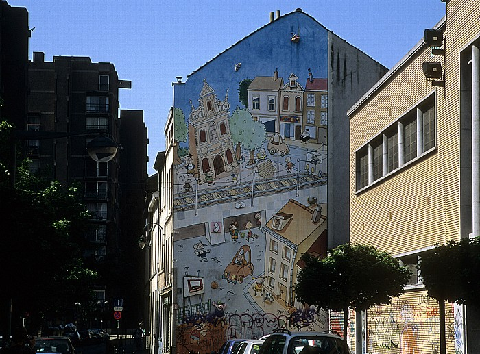 Brüssel Rue Terre Neuve (Nieuwland): Comic-Wandgemälde