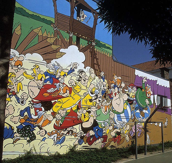 Brüssel Rue de la Buanderie: Comic-Wandgemälde Asterix und Obelix