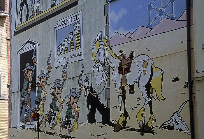 Brüssel Rue de la Buanderie: Comic-Wandgemälde Lucky Luke