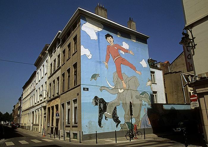 Brüssel Rue des Fabriques: Comic-Wandgemälde Nick