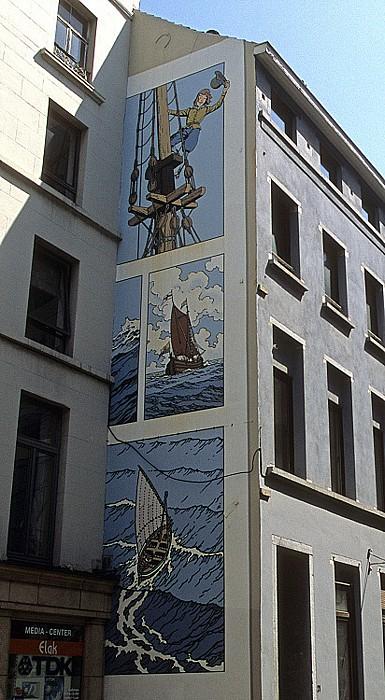 Brüssel Rue des Fabriques: Comic-Wandgemälde Cori der Schiffsjunge