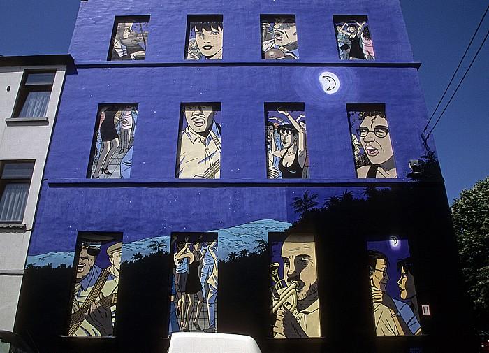 Brüssel Rue de la Poudrière: Comic-Wandgemälde Caroline Baldwin