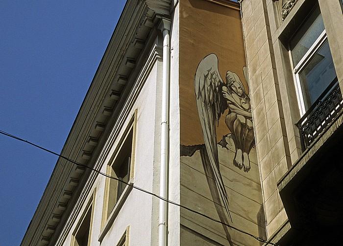 Brüssel Rue des Chartreux (Kartuizersstraat): Comic-Wandgemälde L'Ange de Sambre