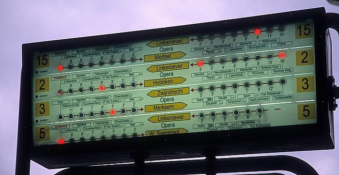 Antwerpen Frankrijklei: Straßenbahninformationsanzeige