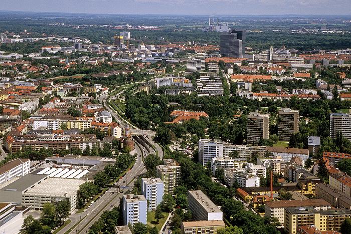 München Blick vom Olympiaturm: Schwabing Englischer Garten Münchner Tor Petuelring