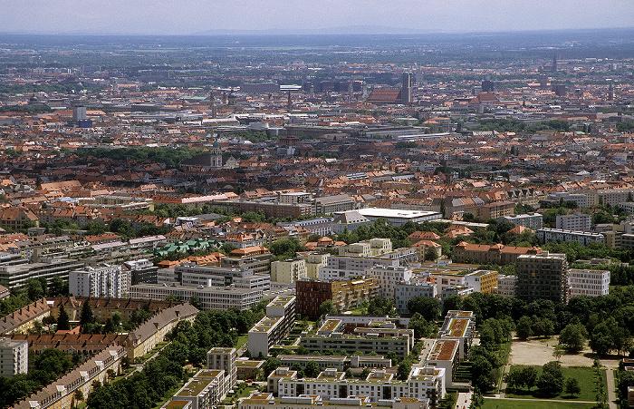 München Blick vom Olympiaturm Frauenkirche Neues Rathaus