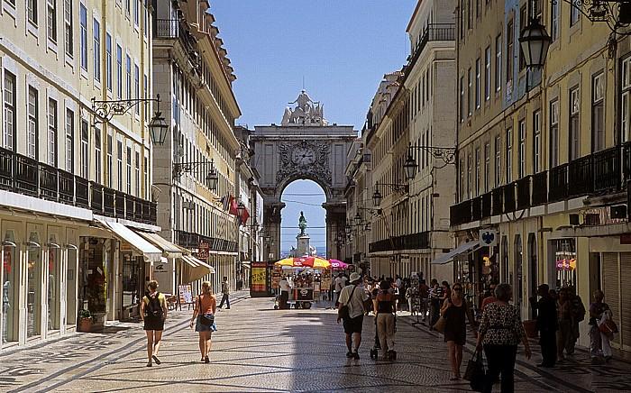 Lissabon Baixa: Rua Augusta, Arco da Rua Augusta Praça do Comércio Reiterdenkmal König Josés I.