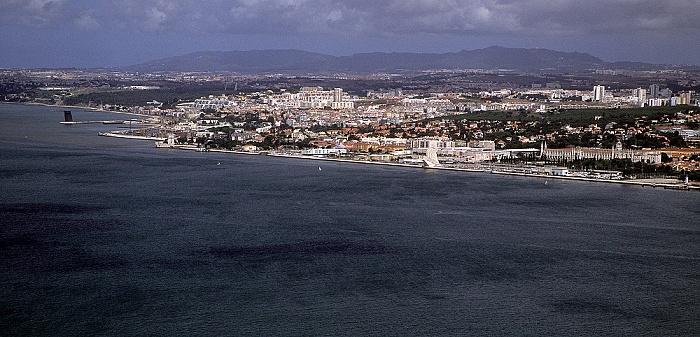 Blick vom Monumento Cristo Rei: Tejo, Belém Lissabon 2009