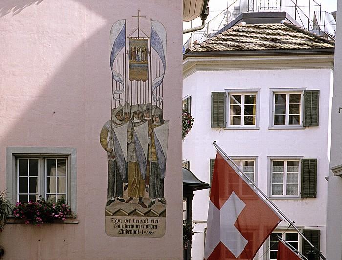 Altstadt: Wandgemälde Zug der bewaffneten Zürcherinnen auf den Lindenhof 1292 Zürich