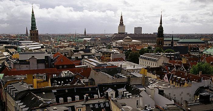 Kopenhagen Blick vom Runden Turm (Rundetårn) Christianskirche Erlöserkirche Heiliggeistkirche Nikolaikirche Palastkapelle Christiansborg Runder Turm Schloss Christiansborg