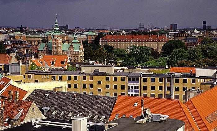 Kopenhagen Blick vom Runden Turm (Rundetårn): Königlicher Park (Kongens Have) und Schloss Rosenborg Runder Turm