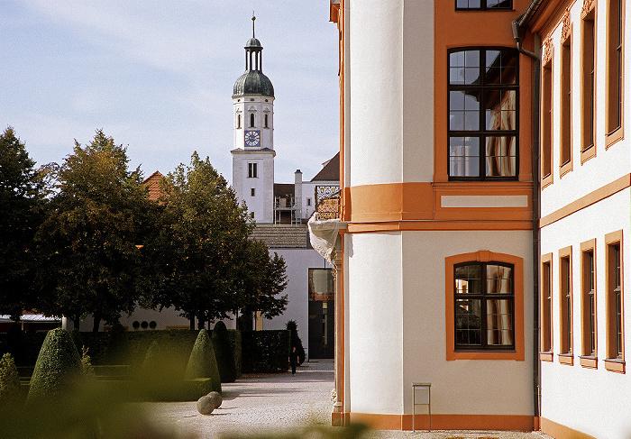 Eichstätt Ehem. fürstbischöfliche Sommerresidenz (Universitätsverwaltung), Hofgarten Schutzengelkirche