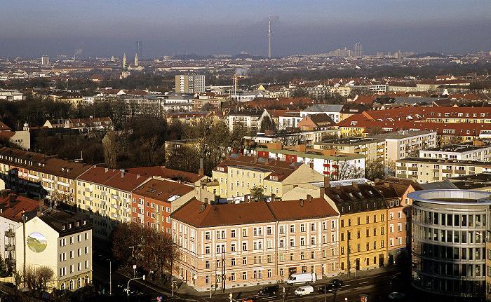 München Blick vom Technischen Rathaus: Haidhausen BMW-Hochhaus Ludwigskirche Maxvorstadt Olympiapark Olympiaturm Schwabing Technisches Rathaus