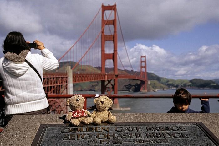 San Francisco Gedenktafel: Teddine und Teddy Golden Gate Bridge San Francisco Bay