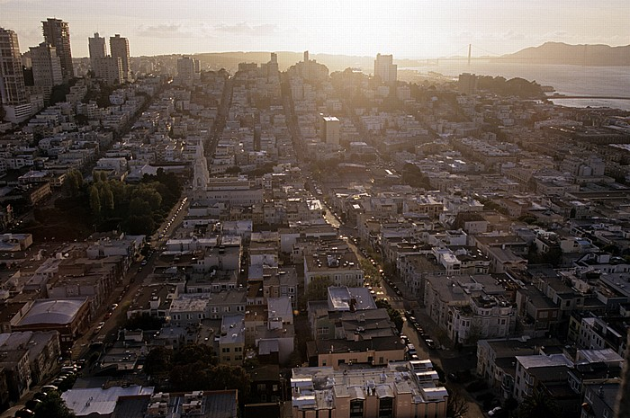San Francisco Blick vom Coit Tower: North Beach und Russian Hill Golden Gate Bridge San Francisco Bay