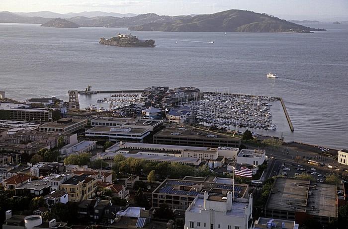 San Francisco Blick vom Coit Tower: Pier 39 Alcatraz Island San Francisco Bay