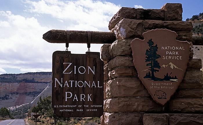 Eingangsschild Zion National Park