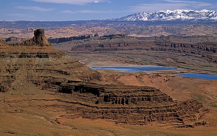 Dead Horse Point State Park Blick vom Dead Horse Point Overlook: Potash Solar Evaporation Ponds (Solare Pottasche-Verdampfungsteiche)