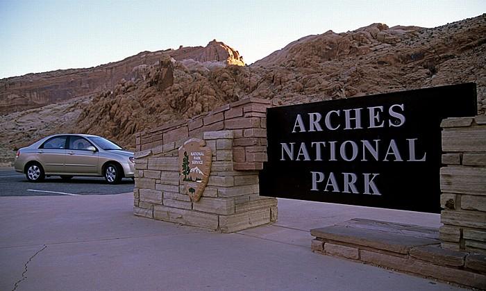 Eingangsschild Arches National Park