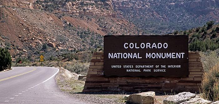 Colorado National Monument Eingangsschild
