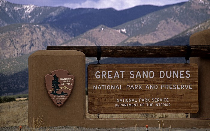 Eingangsschild Great Sand Dunes National Park