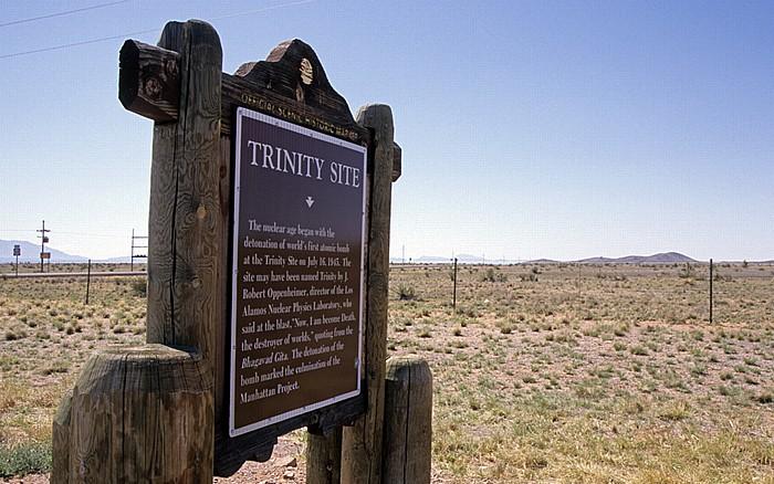 White Sands Missile Range Hinweisschild zur Trinity Site