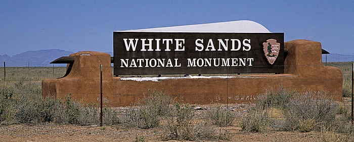 Eingangsschild White Sands National Monument