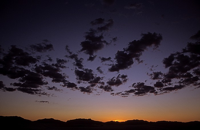 Sonnenuntergang über den San Andres Mountains White Sands National Monument