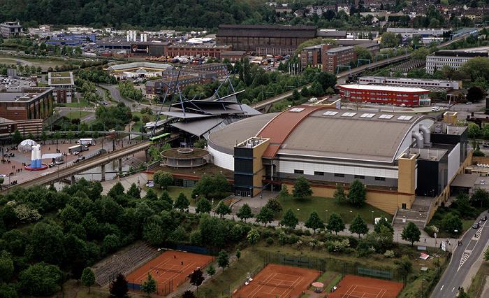 Oberhausen Blick vom Gasometer: CentrO, Haltestelle Neue Mitte, König-Pilsener-Arena