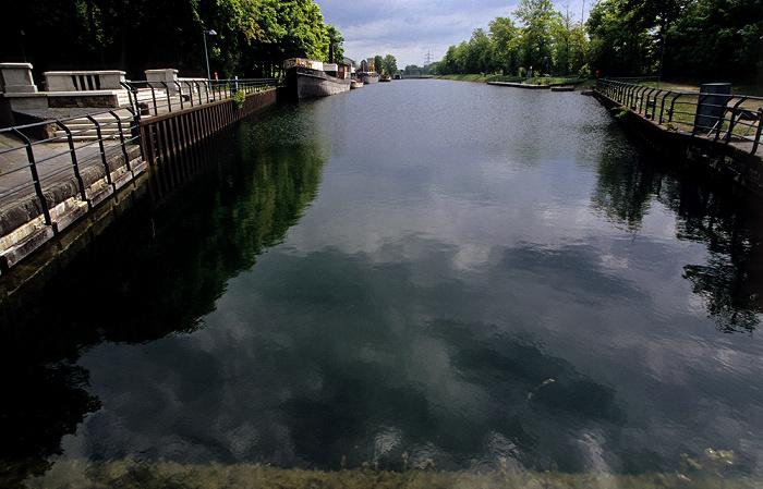 Schleusenpark Waltrop: Blick vom Schiffshebewerk Henrichenburg: Dortmund-Ems-Kanal