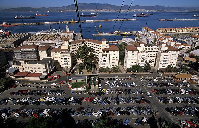 Blick aus der Gibraltar Cable Car (Seilbahn) Bay of Gibraltar