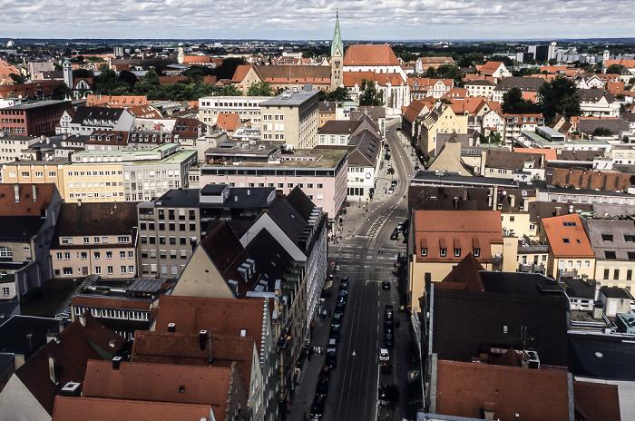Blick vom Turm von St. Peter am Perlach (v.u.): Karolinenstraße, Hoher Weg, Augsburger Dom (Hohe Domkirche Mariä Heimsuchung)