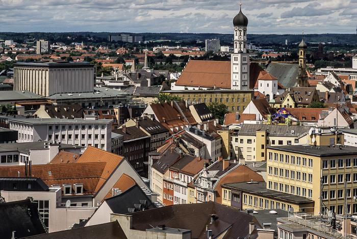Augsburg Blick vom Turm von St. Peter am Perlach Evangelische Heilig-Kreuz-Kirche Katholische Heilig-Kreuz-Kirche Kloster Heilig Kreuz